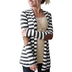 Always Me Striped Elbow Patch Cardigan Sweater L